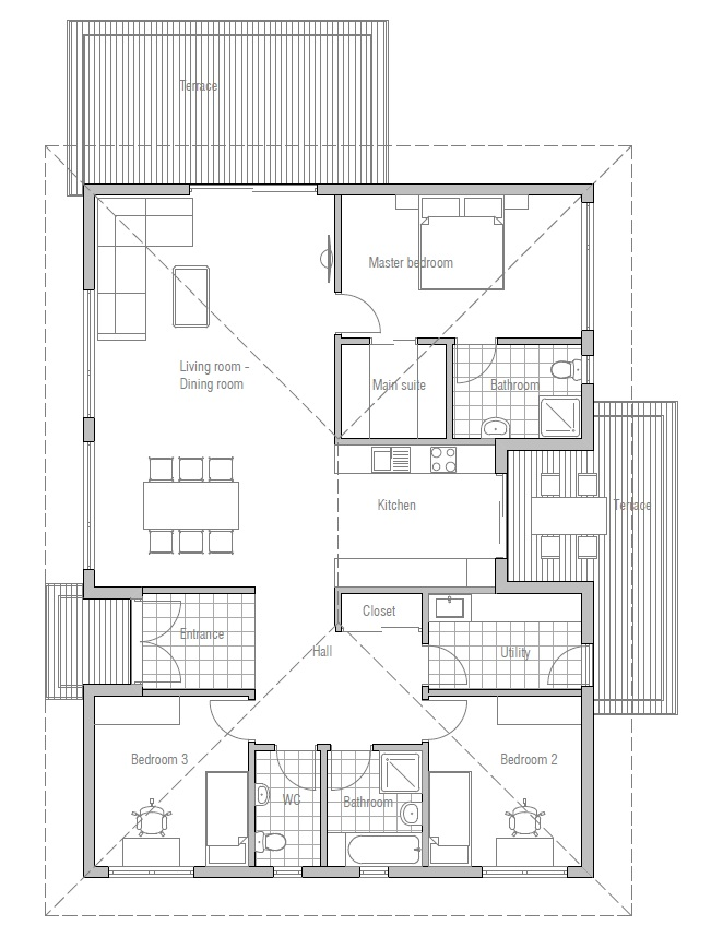 1 Beds 1 Baths 440 Sq Ft Plan 924 7: Small House Plan CH182 Floor Plans And Outside Images
